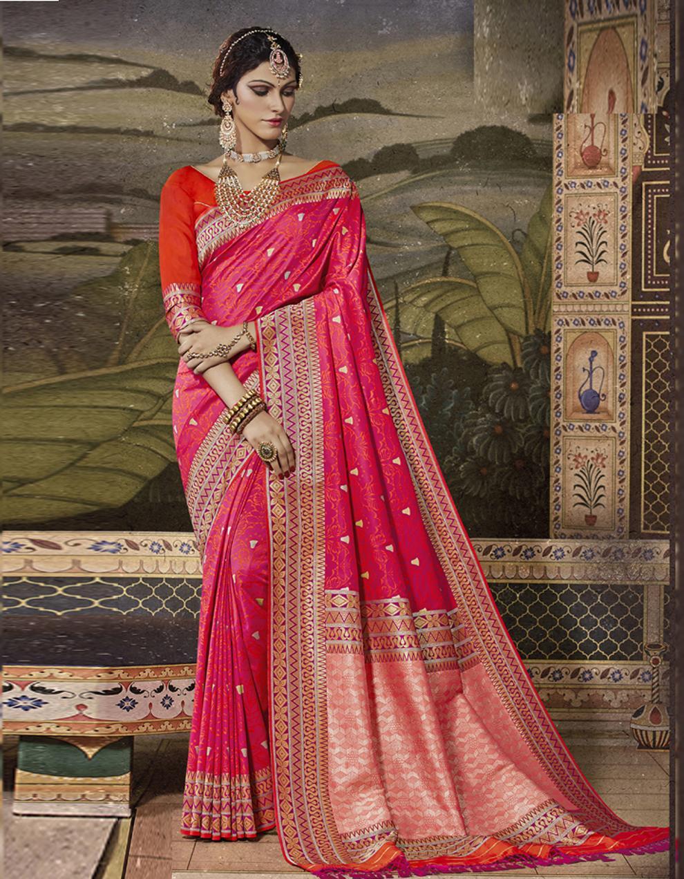 Rani Pink Silk Saree With Blouse SD23836
