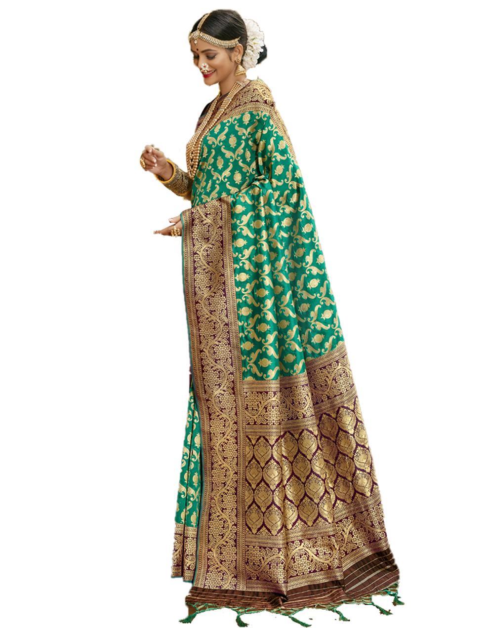 Green Banarasi Silk Saree With Blouse SD24215