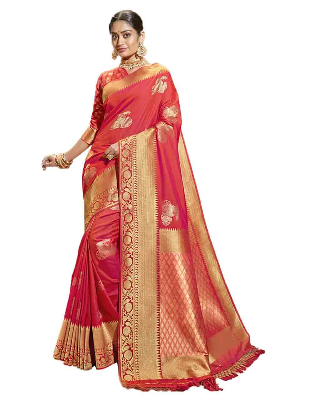 Red Silk Saree With Blouse SD23754