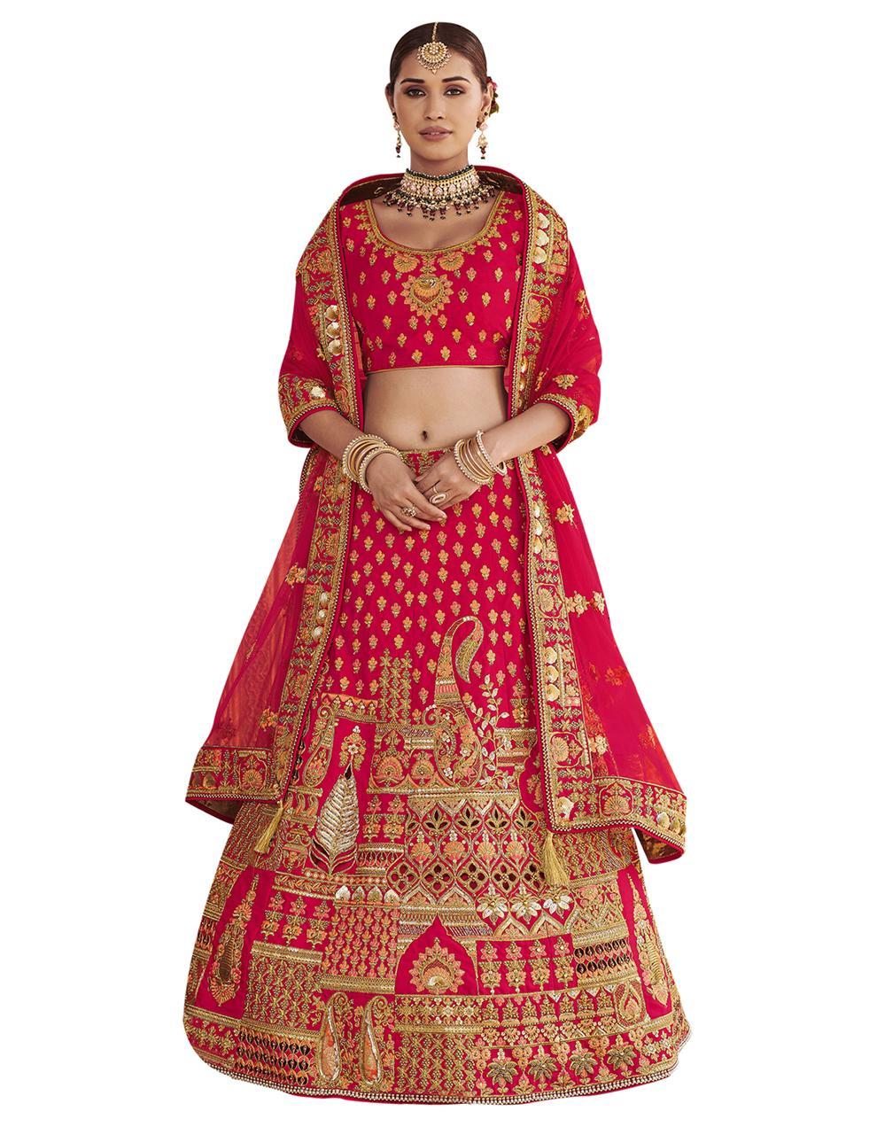 Silk Rani pink Semi Stitched Lehenga with Choli And Dupatta LSD2803