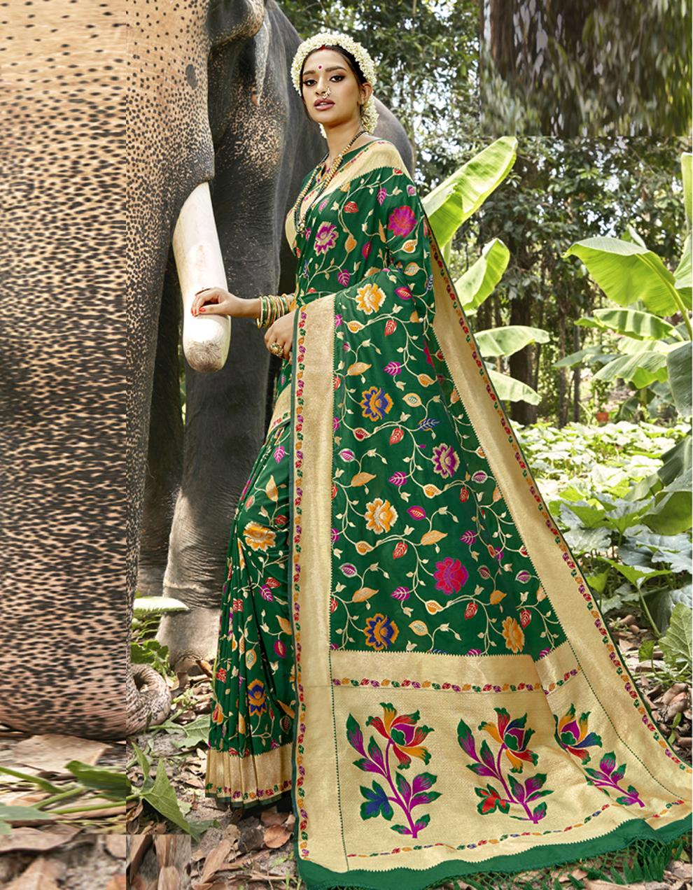 Green Silk Saree With Blouse SD23826