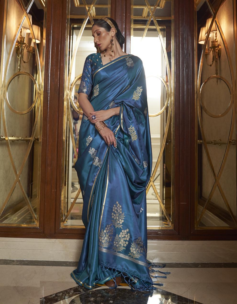 Morpeach Pure Satin Silk Saree With Blouse SD25258