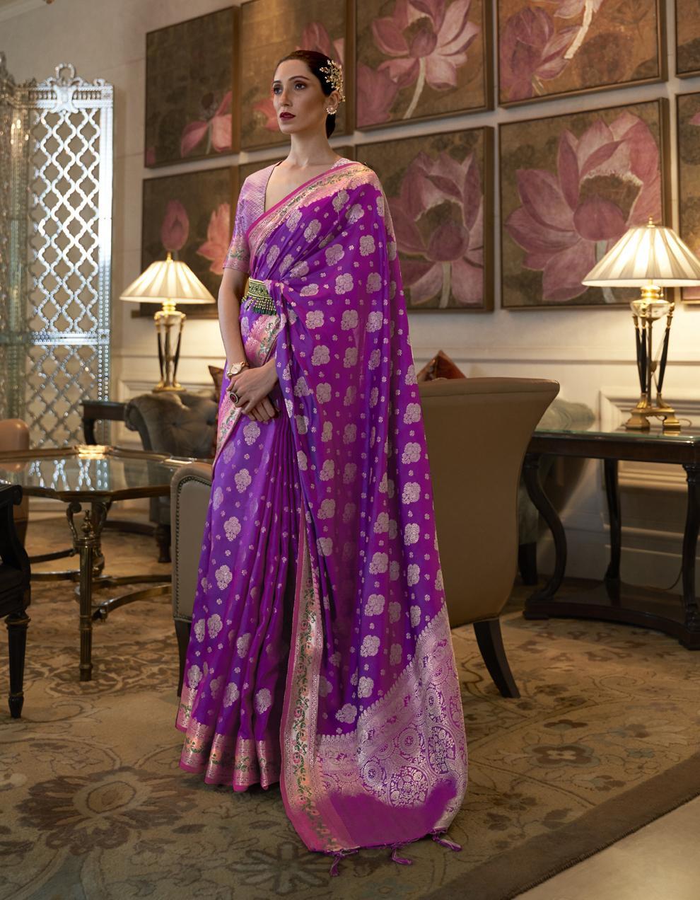 Purple Pure Satin Silk Saree With Blouse SD25274