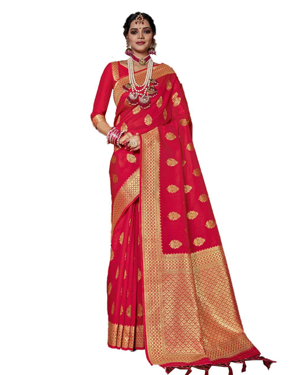 Red Banarasi Silk Saree With Blouse SD24159