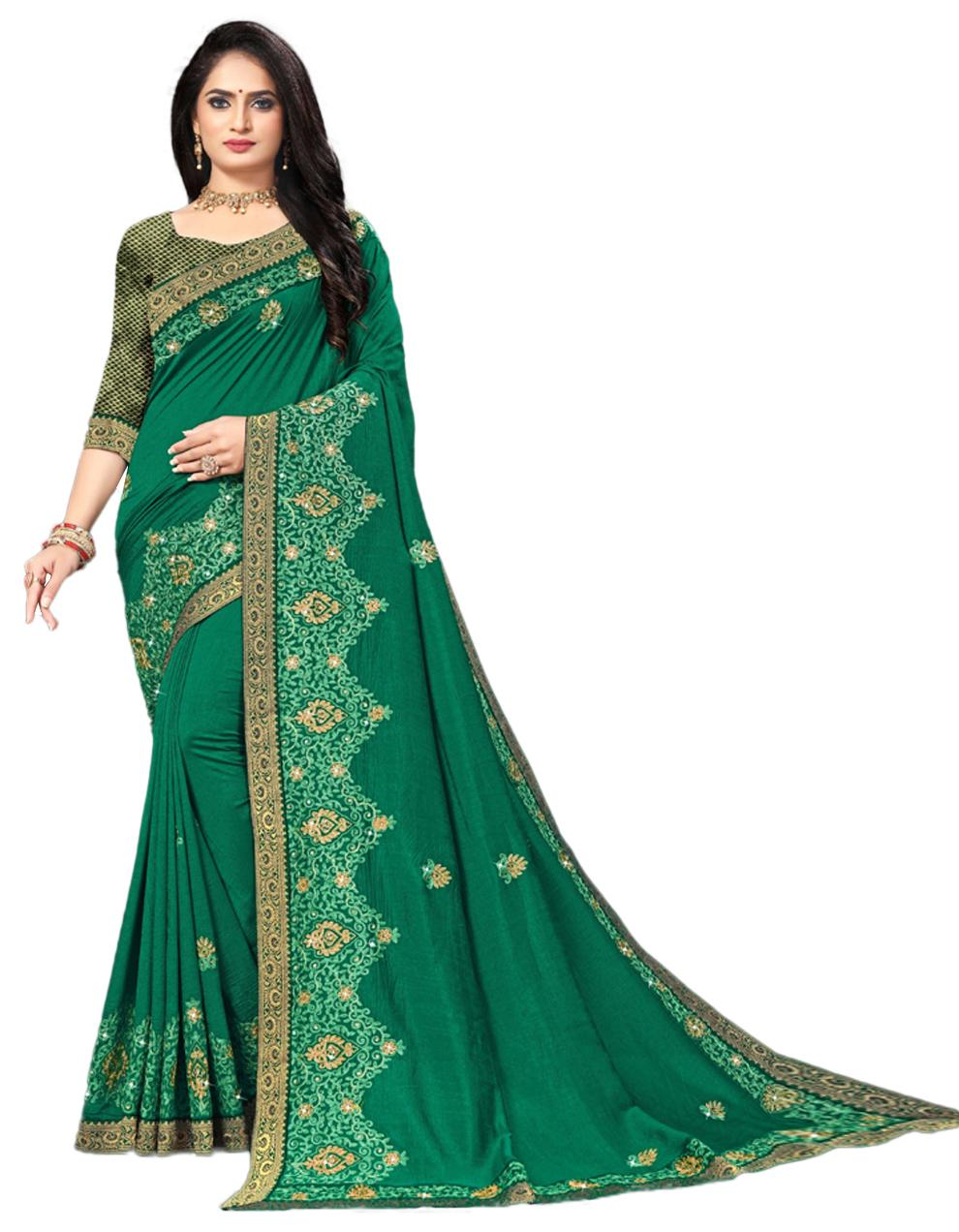 Green Vichitra silk Saree With Blouse IW24388