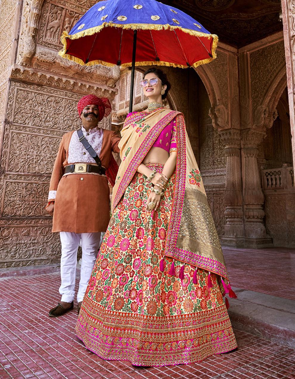 Banarasi Silk Multicolor Semi Stitched Lehenga with Choli And Dupatta LSD2780