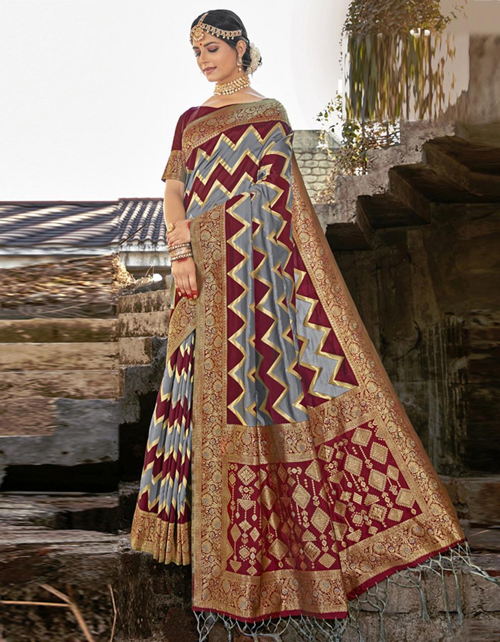 Multicolor Banarasi Saree With Blouse SD24163