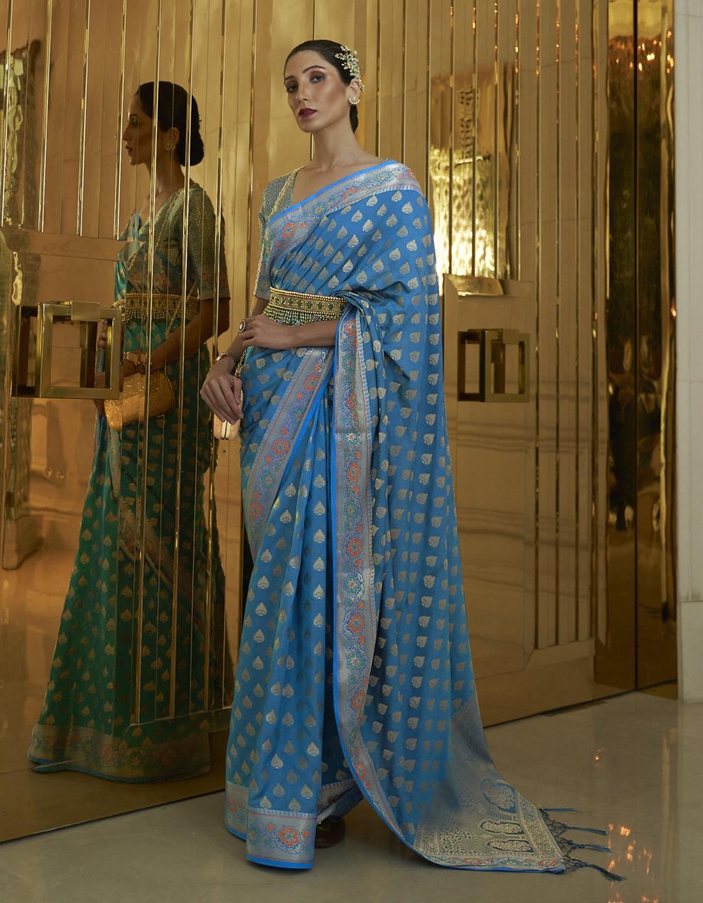 Sea blue Pure Satin Silk Saree With Blouse SD25275