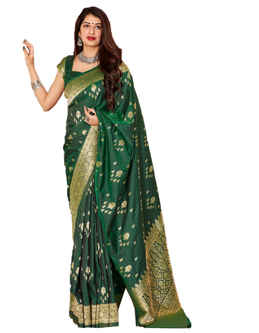 Dark green Silk Saree With Blouse SD24131