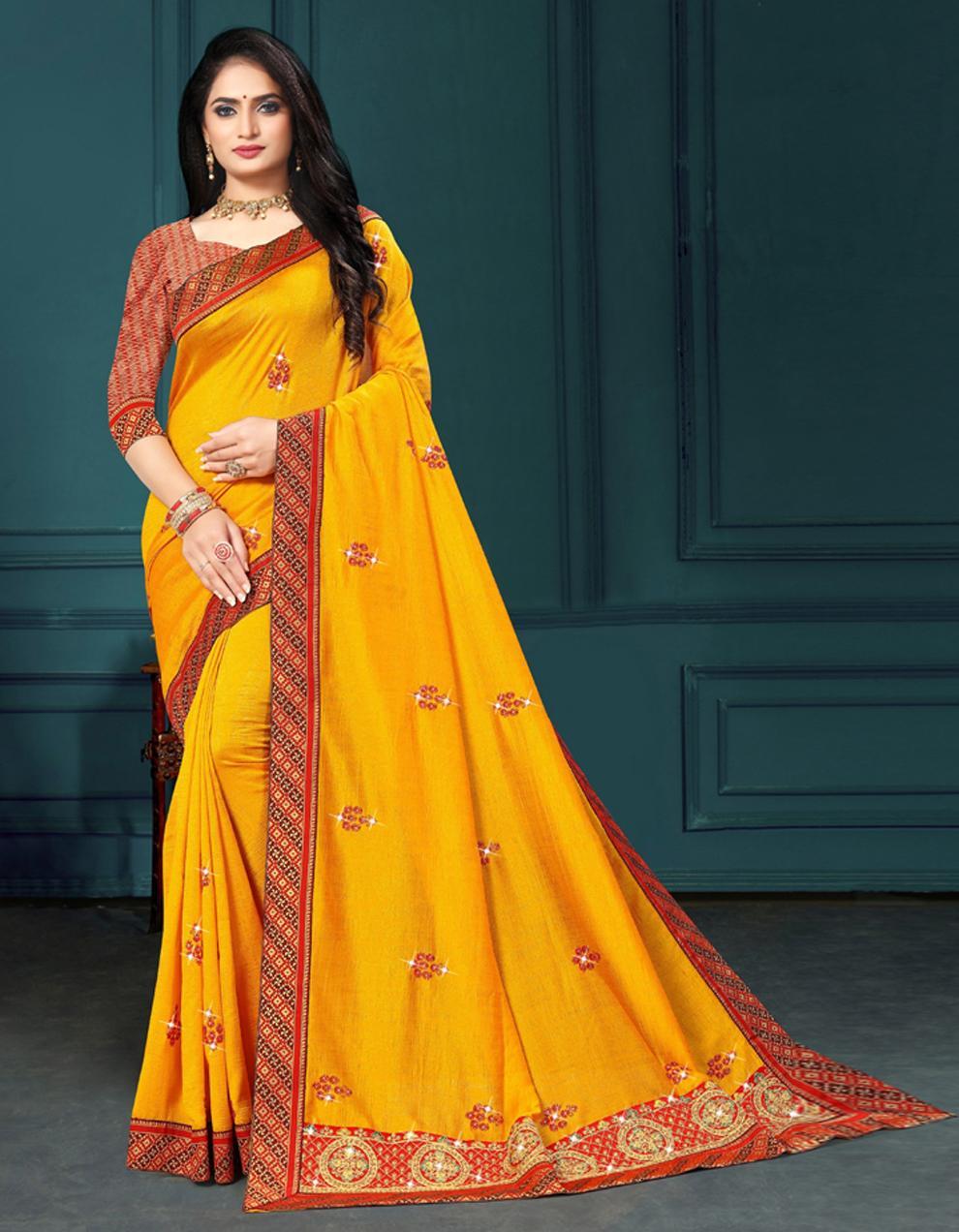 Yellow Vichitra silk Saree With Blouse IW24271