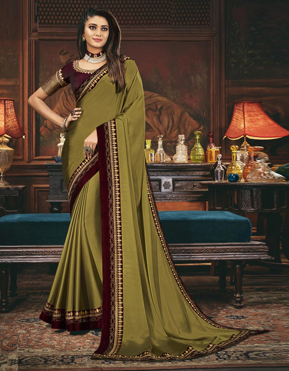 Olive green Silk Saree With Blouse SD24065