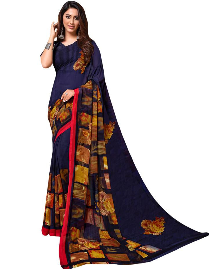 Blue Georgette Saree With Blouse IW24633