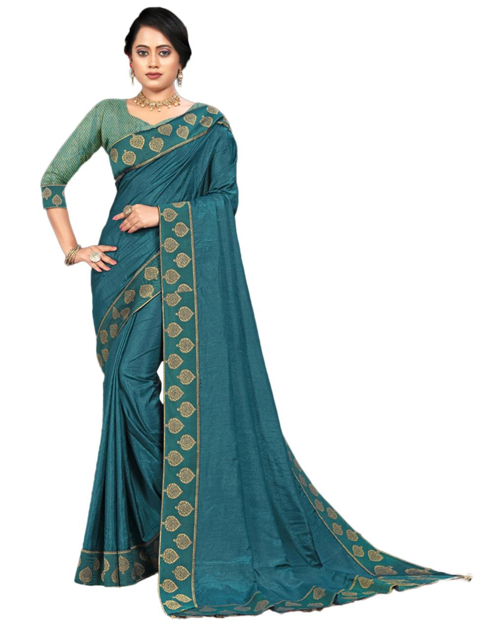 Teal Blue Vichitra silk Saree With Blouse IW24556