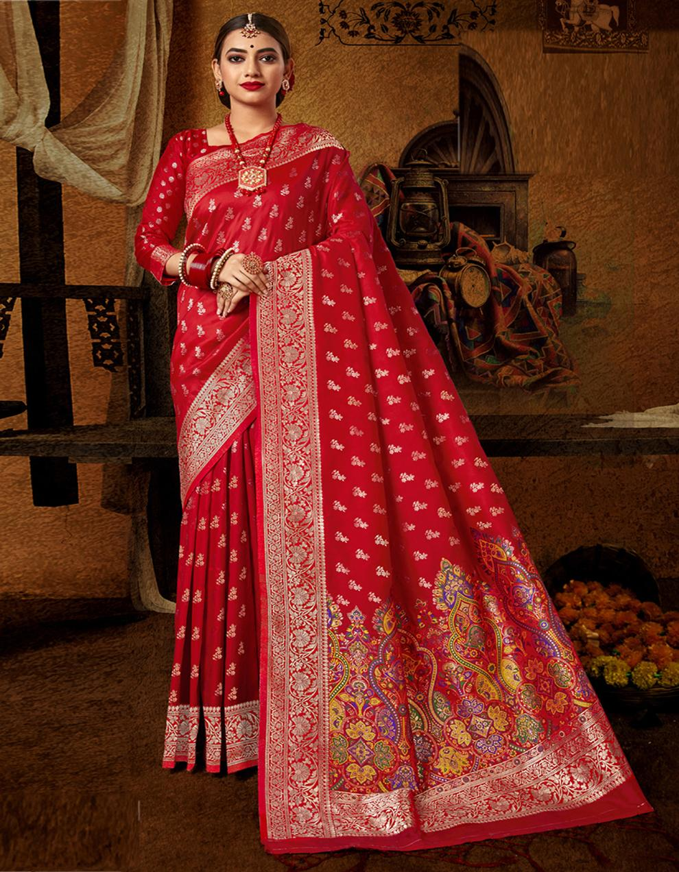 Red Lichi Silk Saree With Blouse SD24096