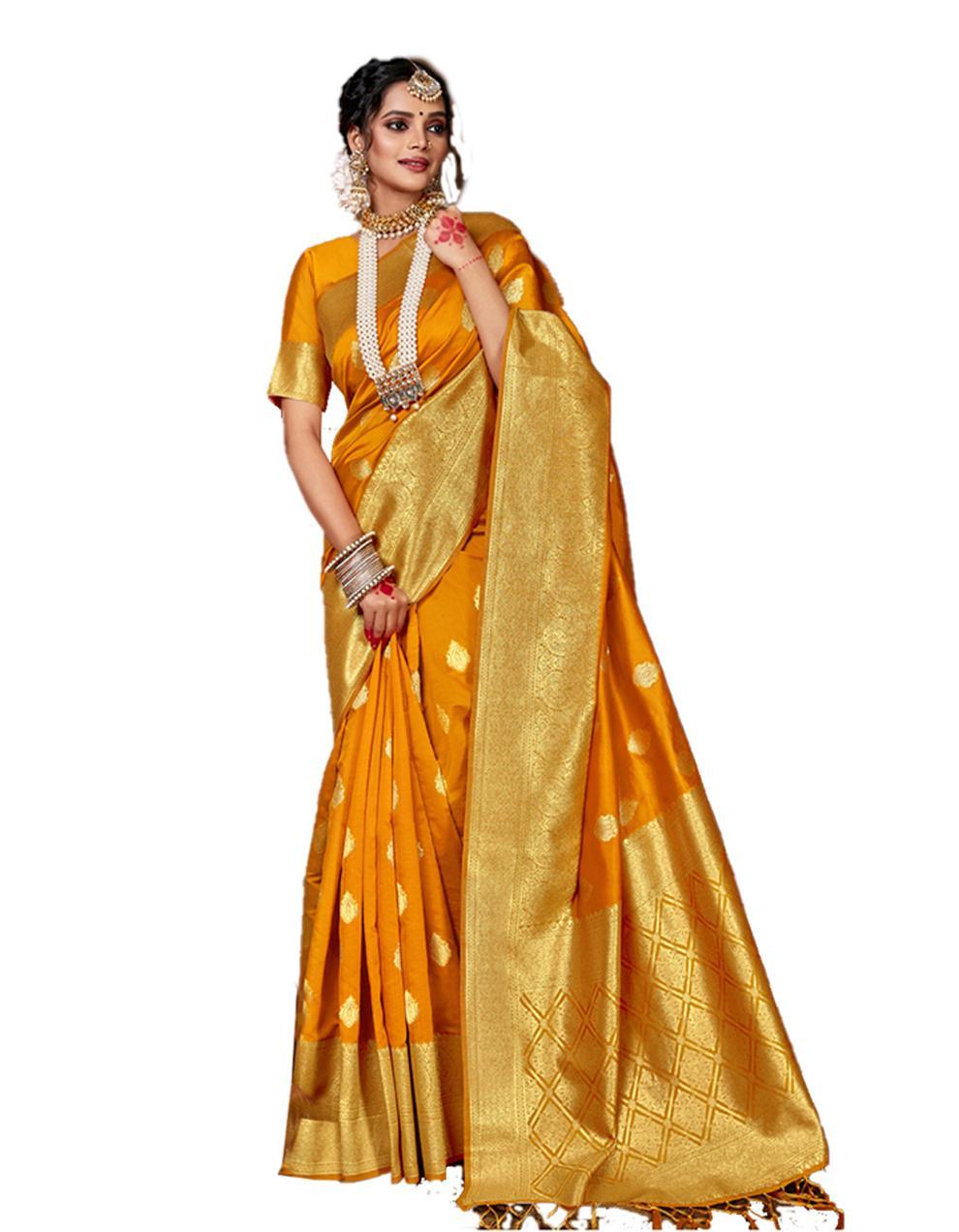 Yellow Banarasi Silk Saree With Blouse SD24156