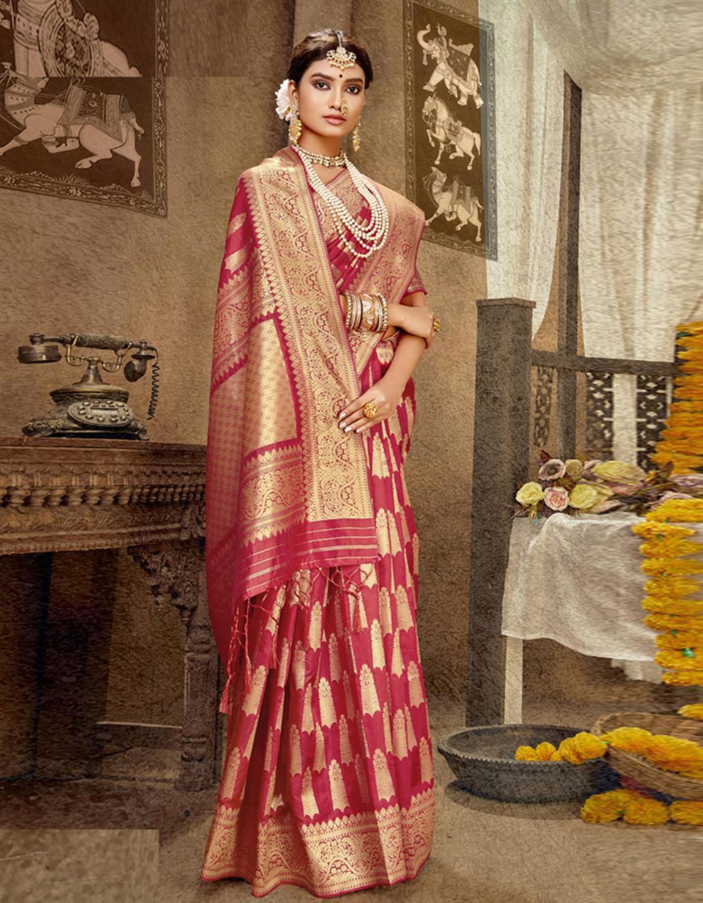 Red Banarasi Silk Saree With Blouse SD24175