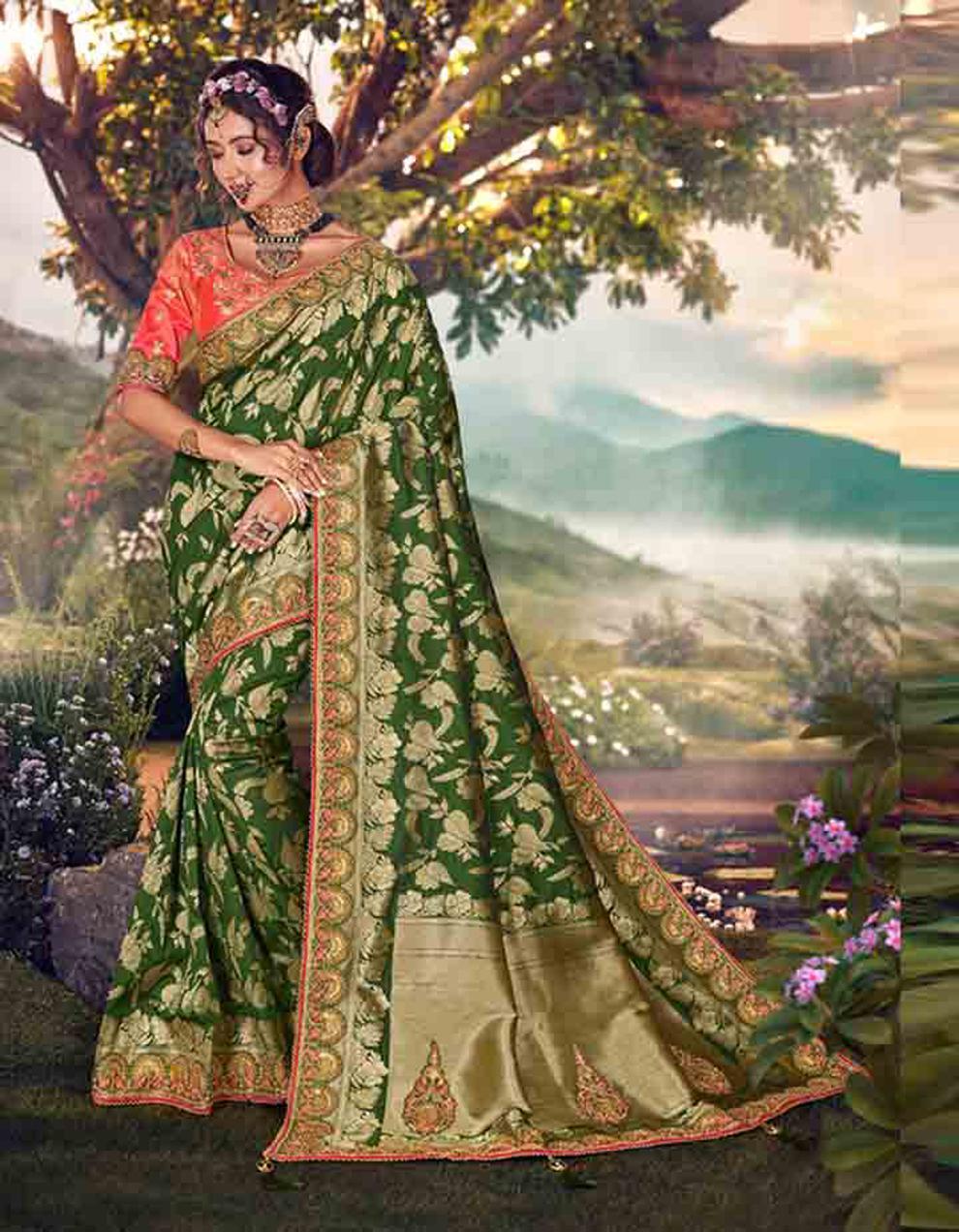 Parrot green Banarasi silk Saree With Blouse SD23880