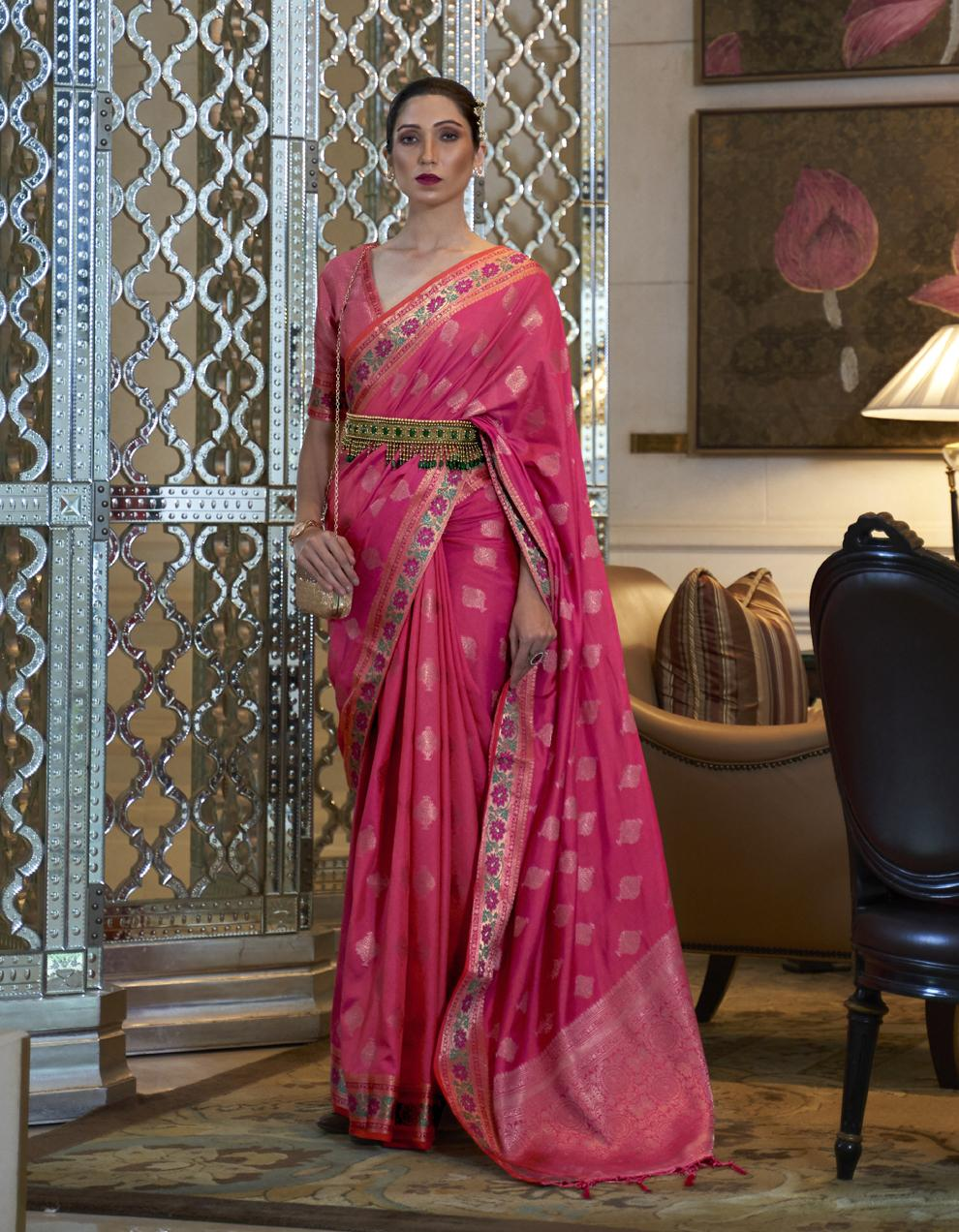 Pink Pure Satin Silk Saree With Blouse SD25271