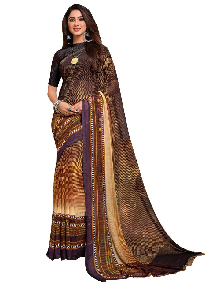 Brown Georgette Saree With Blouse IW24637