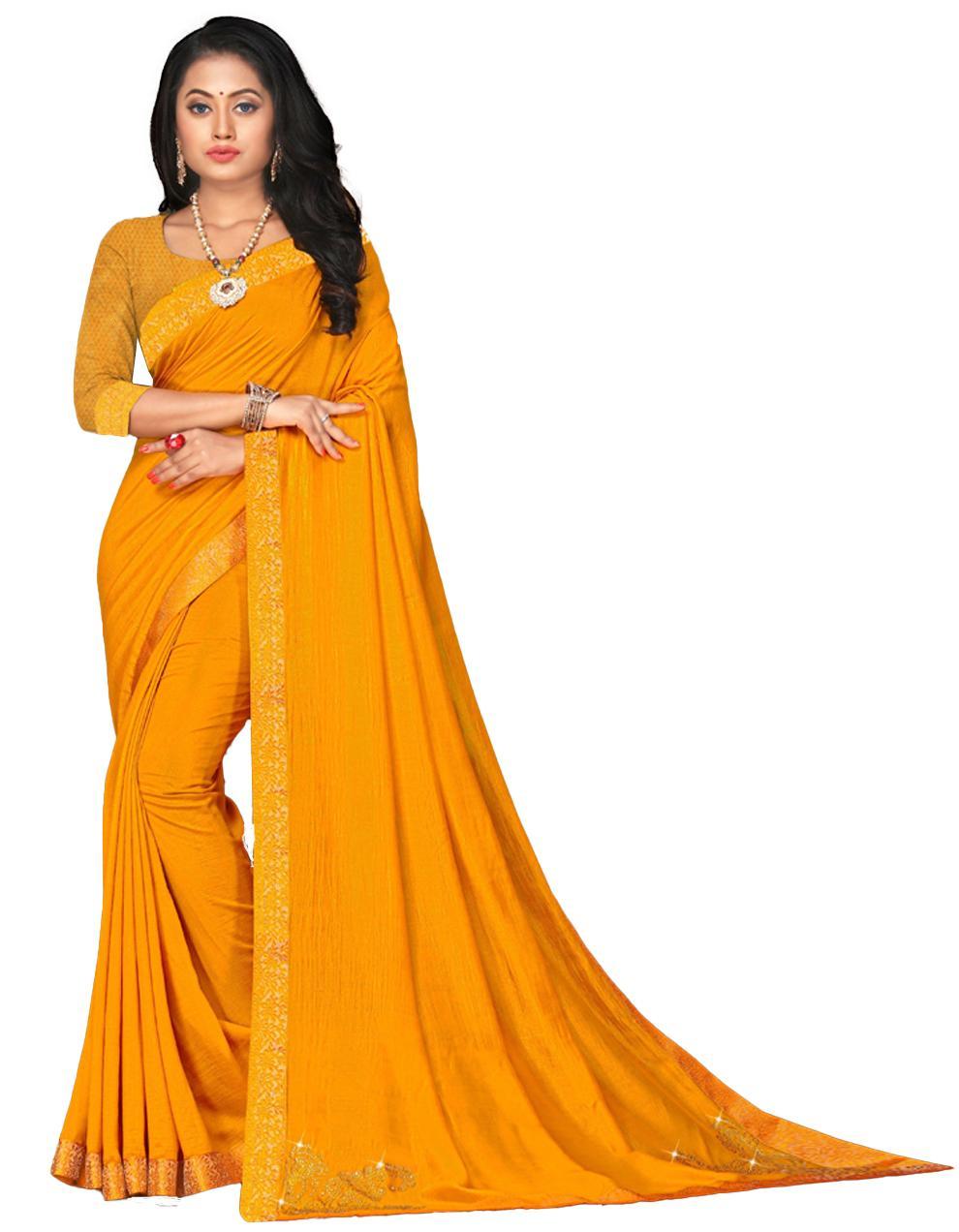 Yellow Vichitra silk Saree With Blouse IW24328