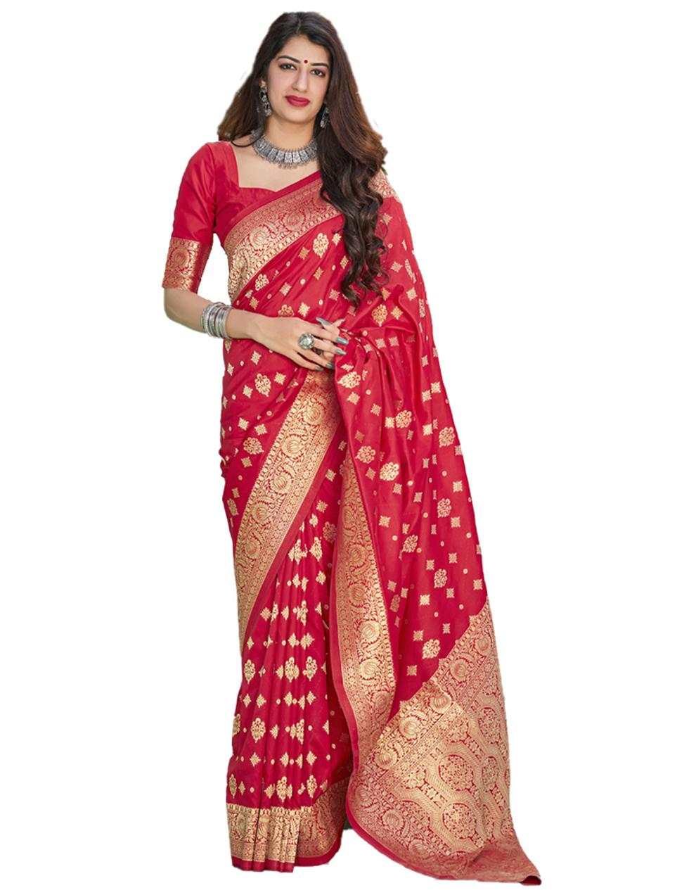 Red Silk Saree With Blouse SD24132