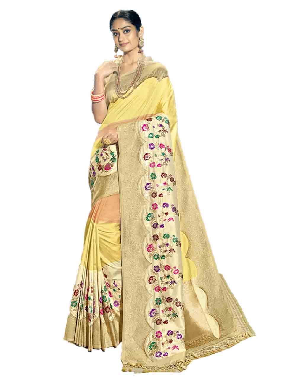 Multicolor Silk Saree With Blouse SD23758