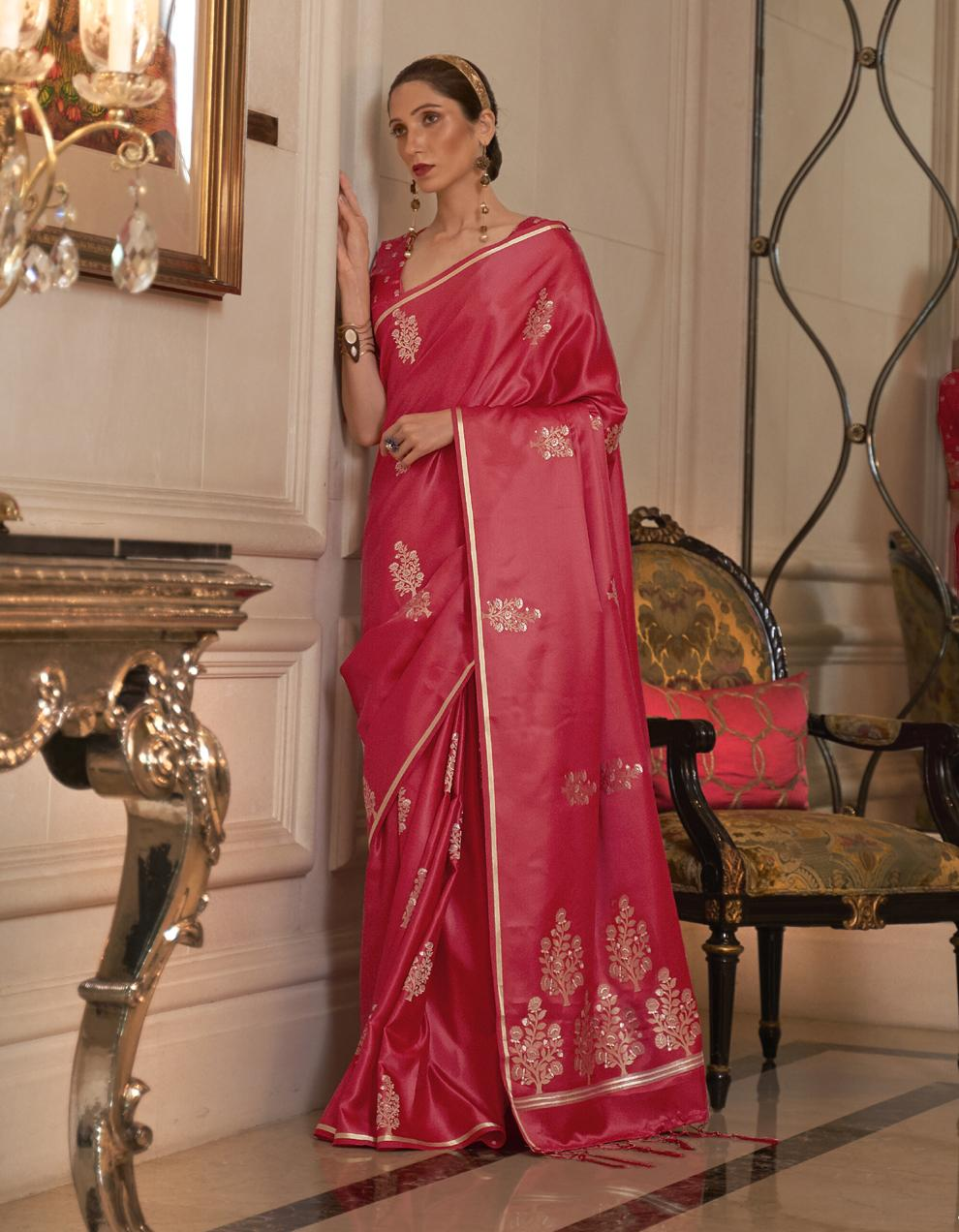 Red Pure Satin Silk Saree With Blouse SD25259