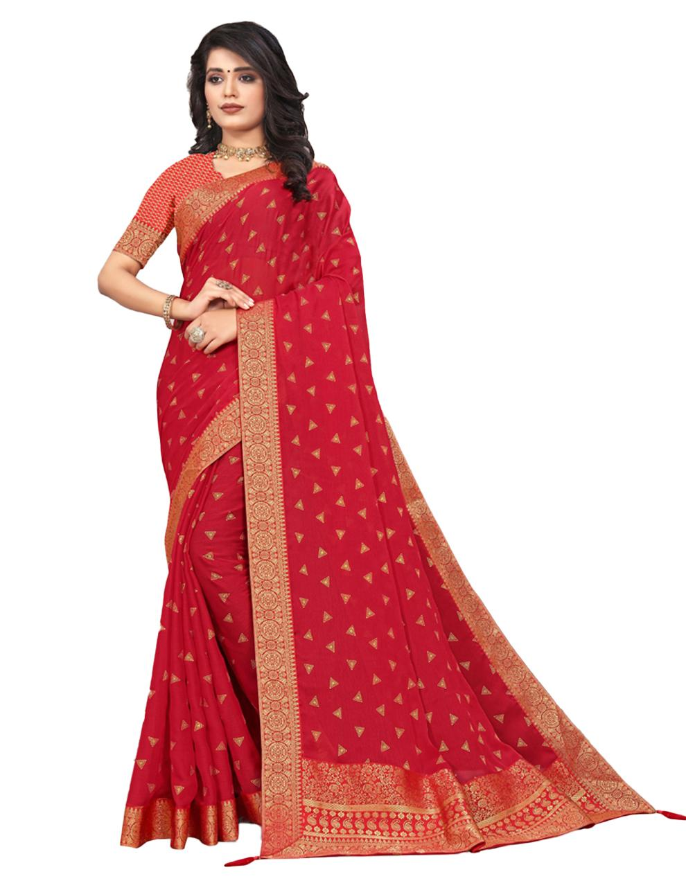 Red Vichitra silk Saree With Blouse IW24370