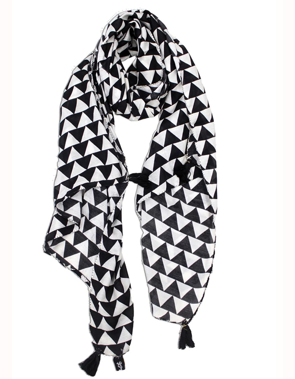 Black And White Viscose Printed Scarf SC37
