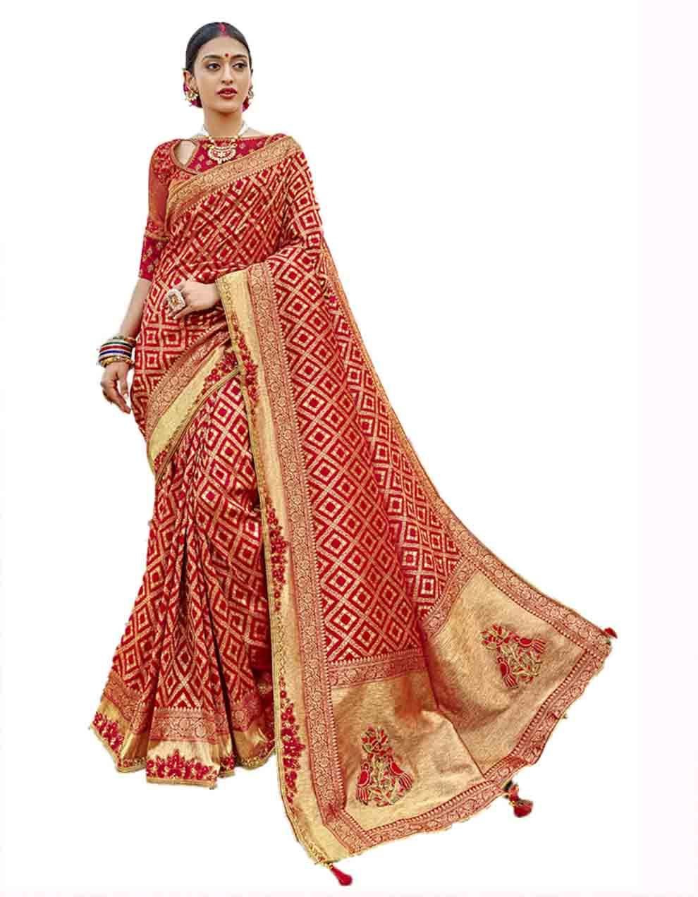 Red Silk Saree With Blouse SD23771