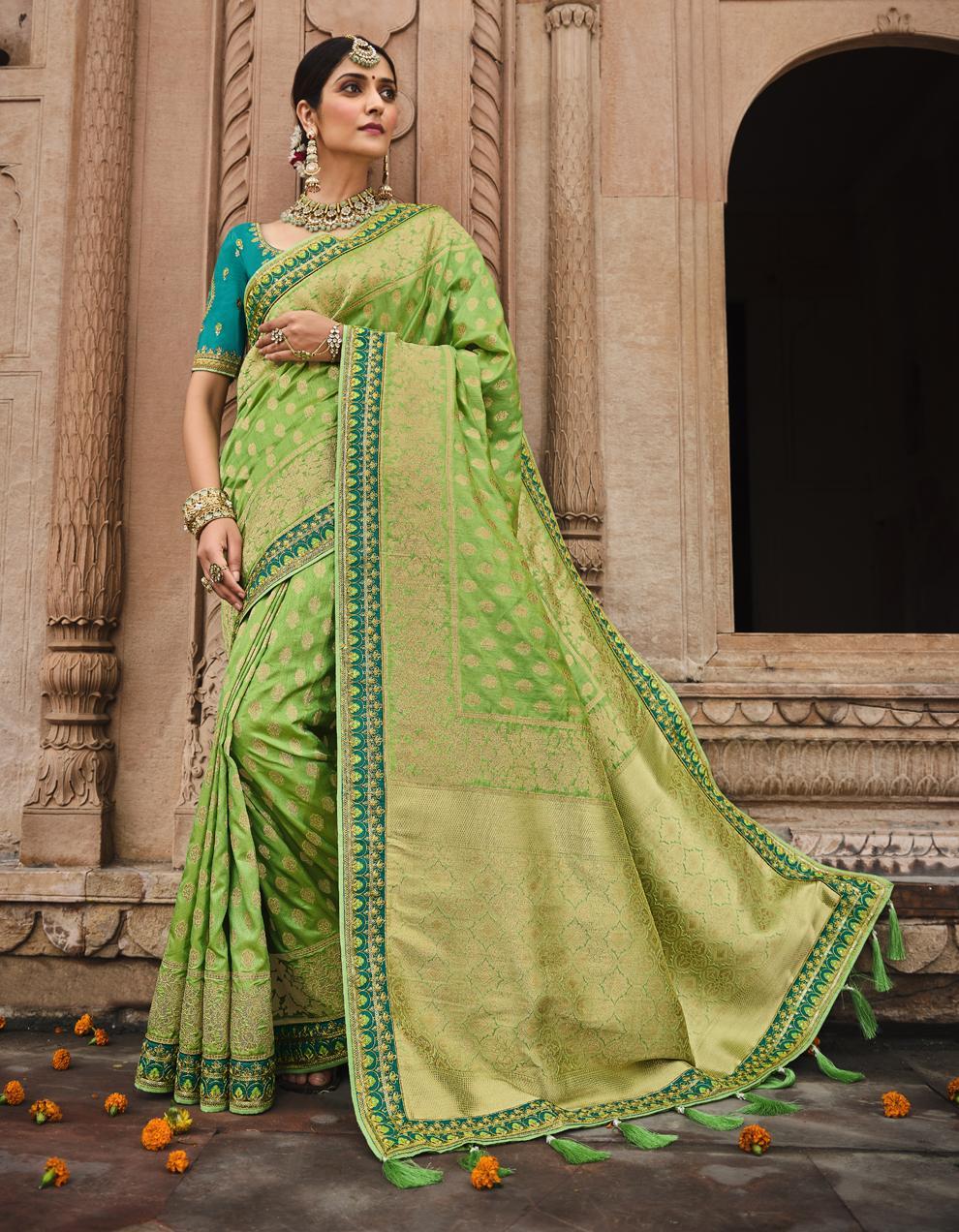 Multicolor Dola Silk Saree With Blouse SD25188