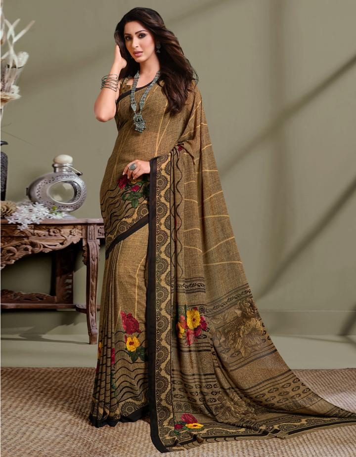 Brown Georgette Saree With Blouse IW24630