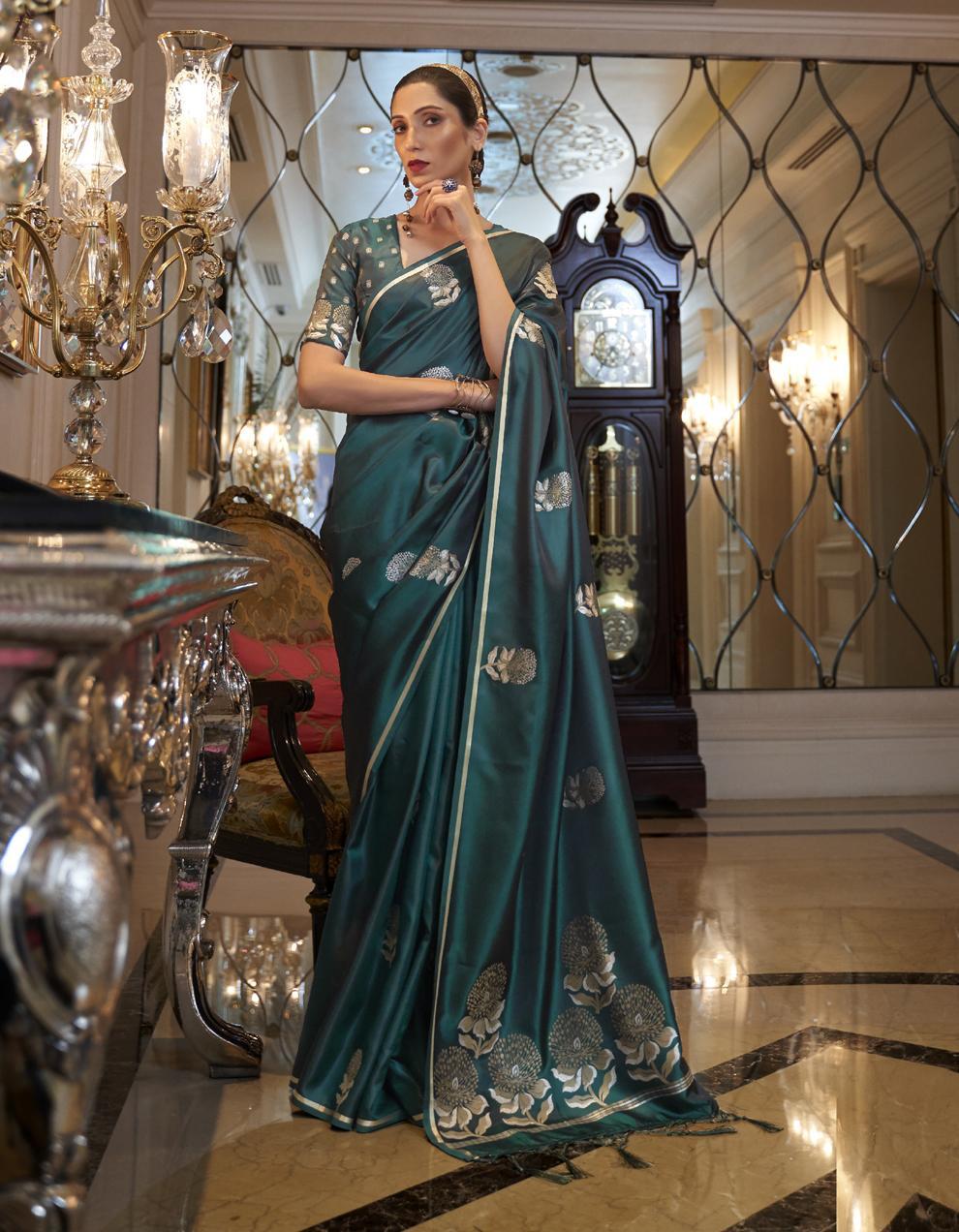Sea green Pure Satin Silk Saree With Blouse SD25262