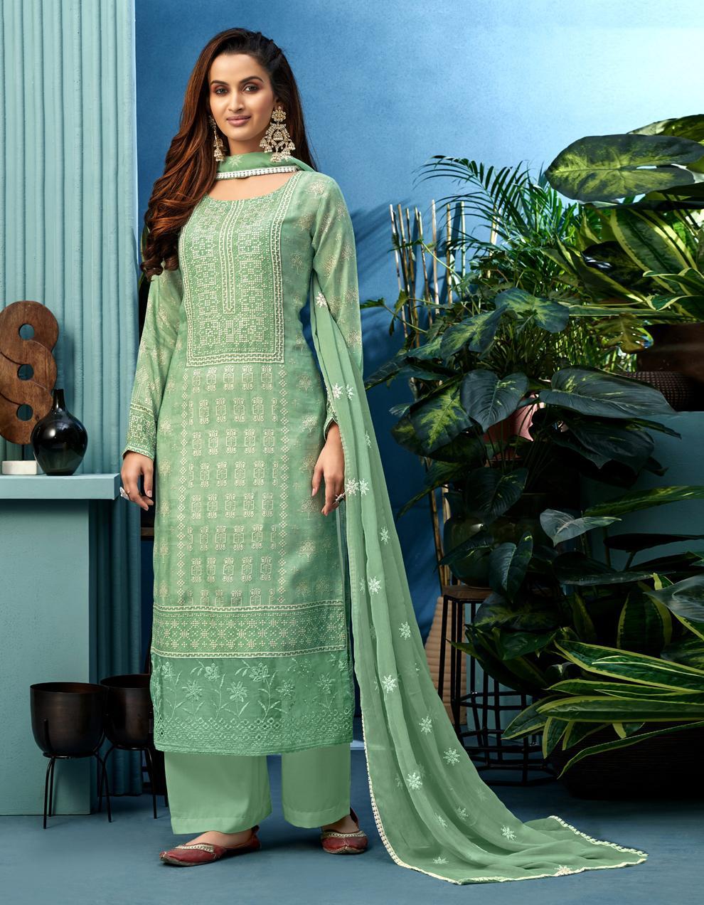 Green Pure Muslin Straight Suit SHL8568