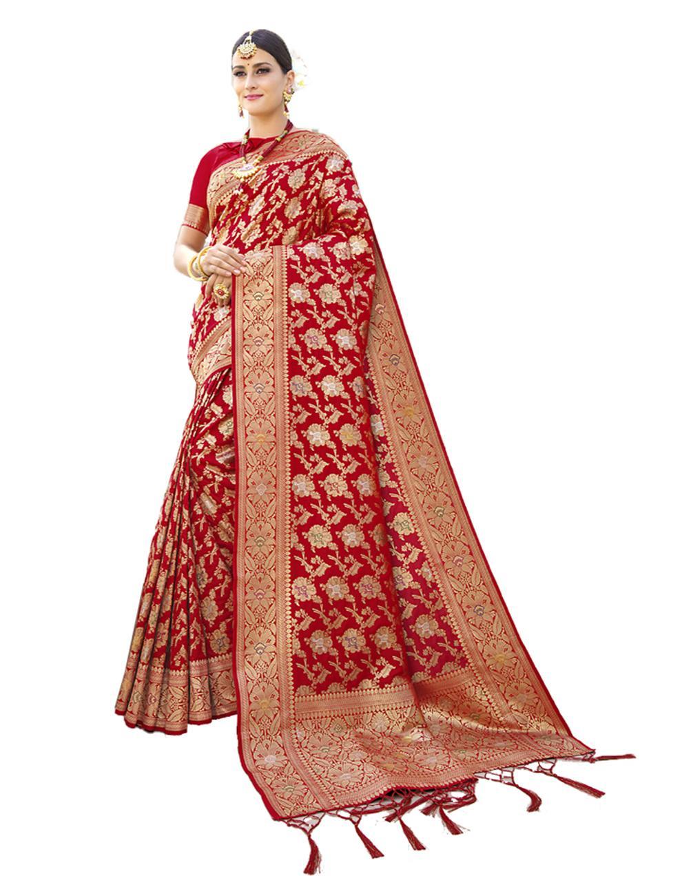 Red Banarasi Silk Saree With Blouse SD24211
