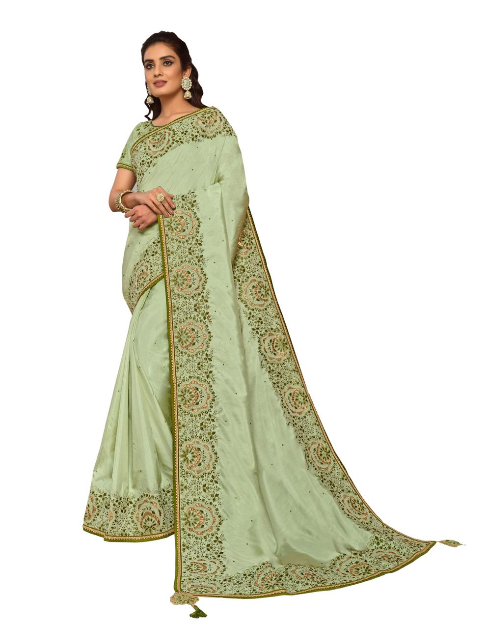 Lime Green Silk Georgette Saree With Blouse MH25087