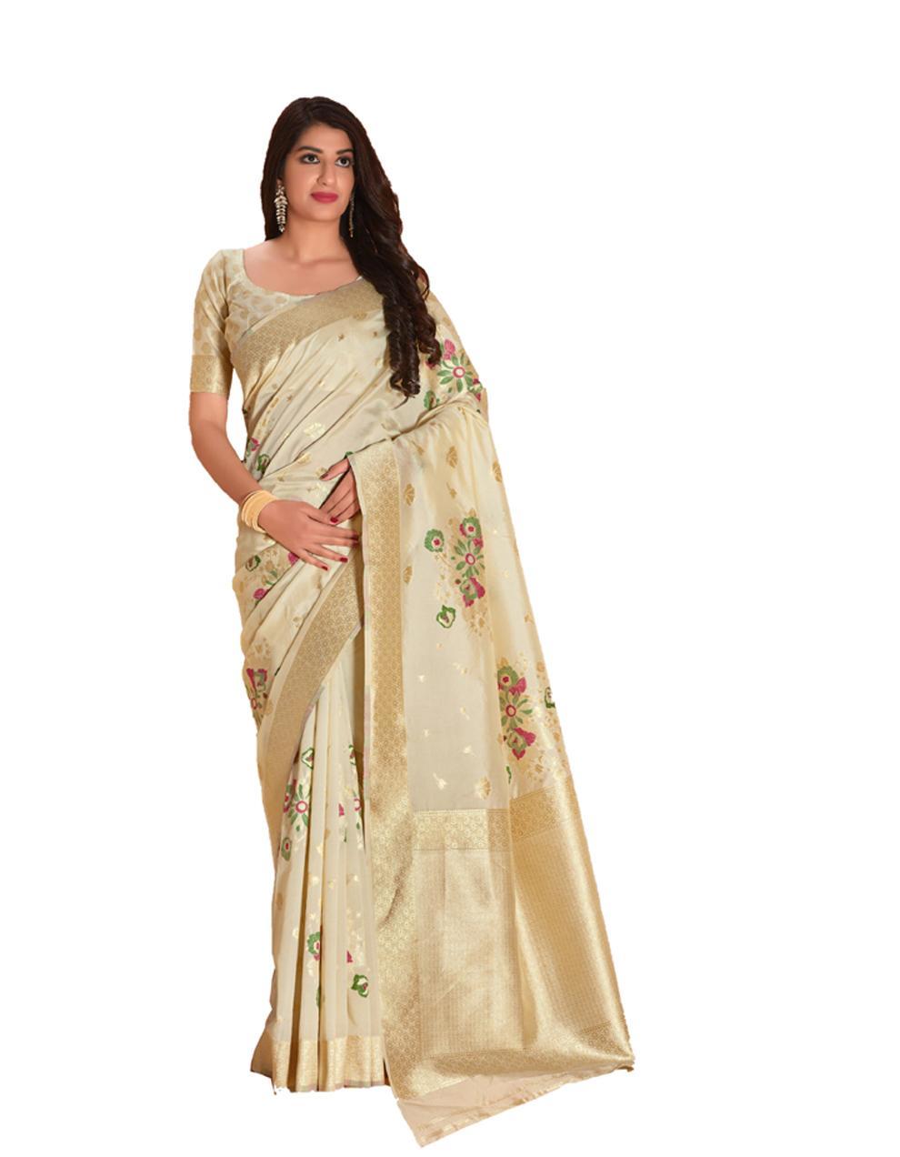 white Silk Saree With Blouse SD23854