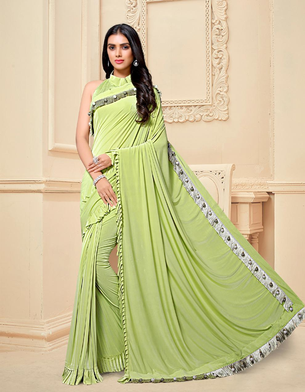Lemon green Silk Saree With Blouse SD25174