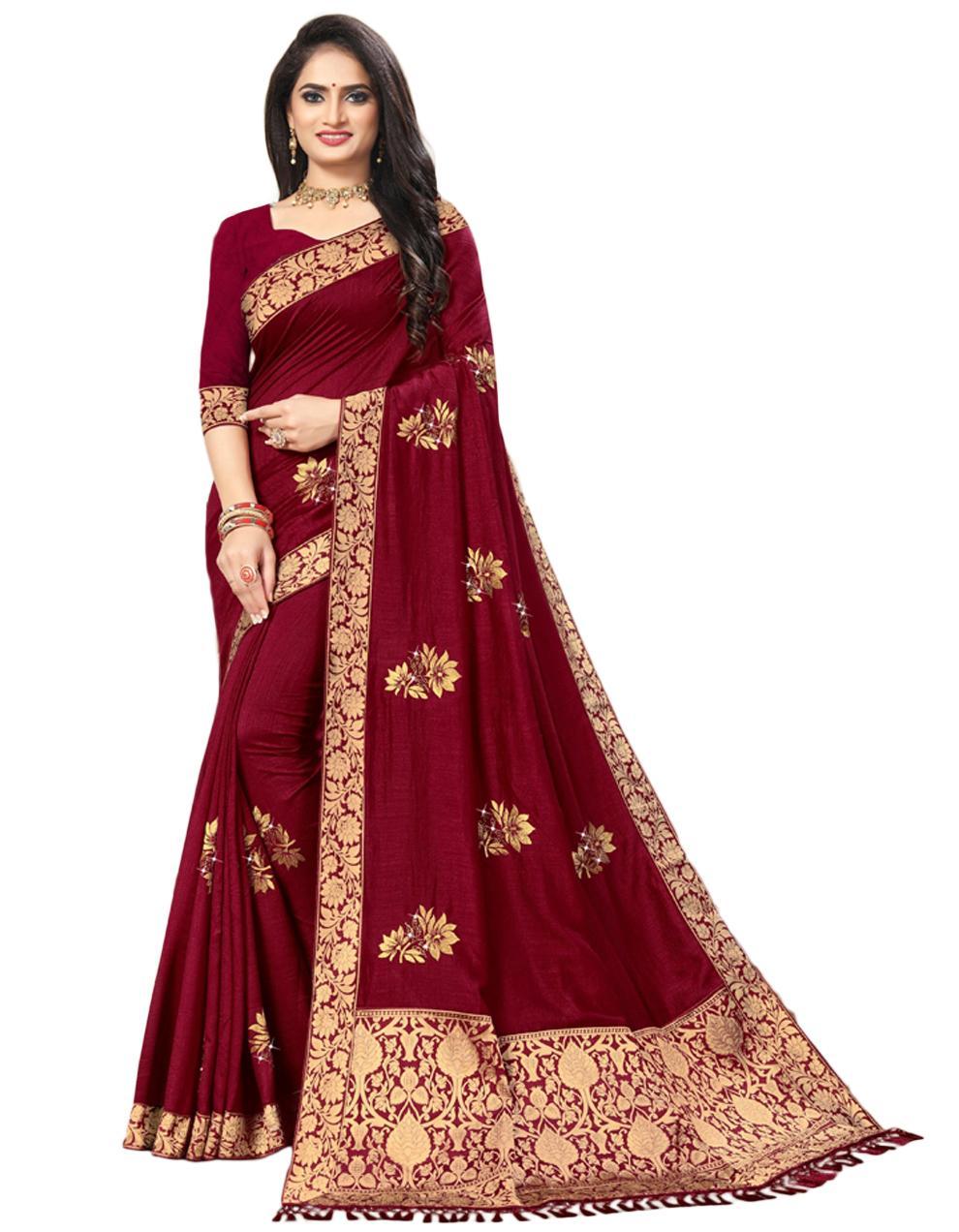 Maroon Vichitra silk Saree With Blouse IW24351
