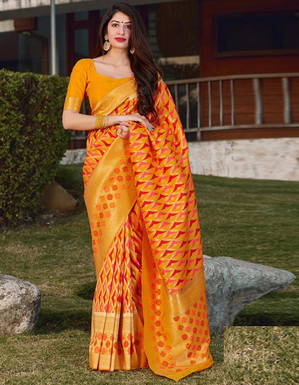 Yellow Banarasi Silk Saree With Blouse SD24144