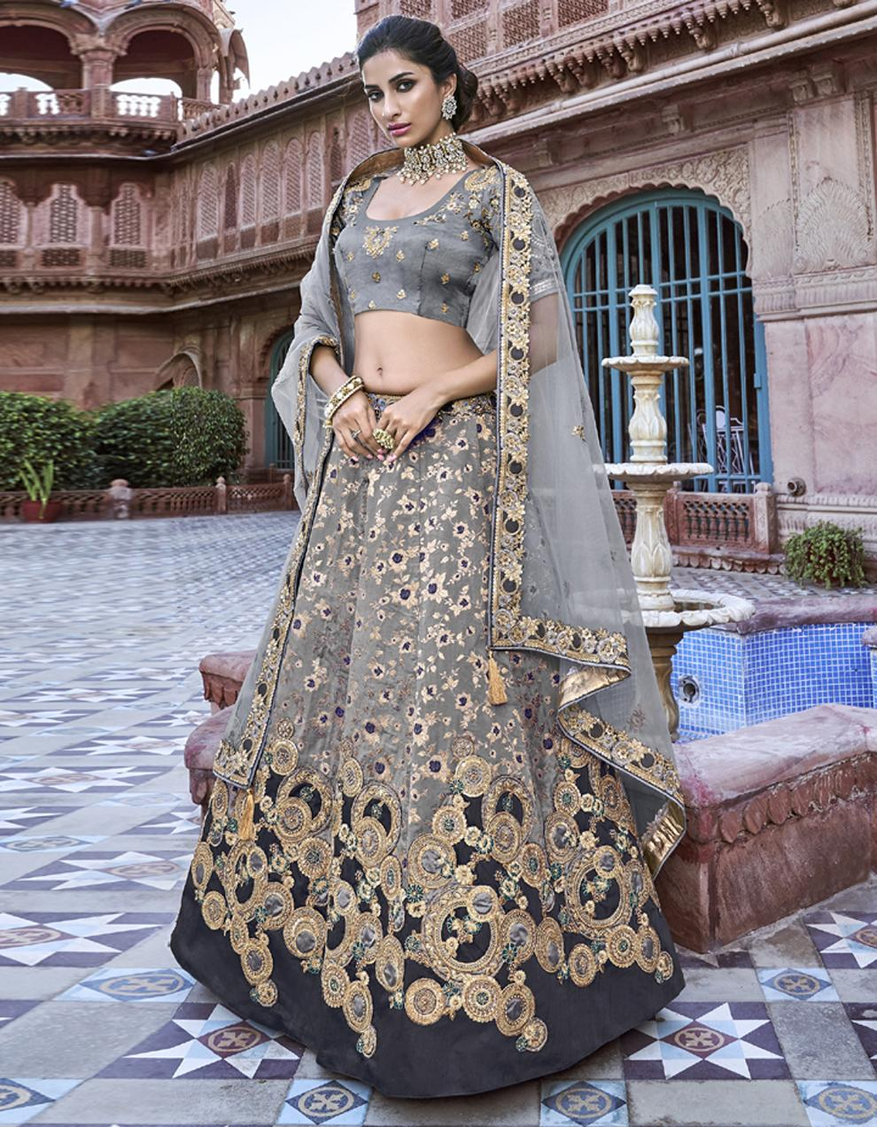 Banarasi Silk Grey Semi Stitched Lehenga with Choli And Dupatta LSD2793