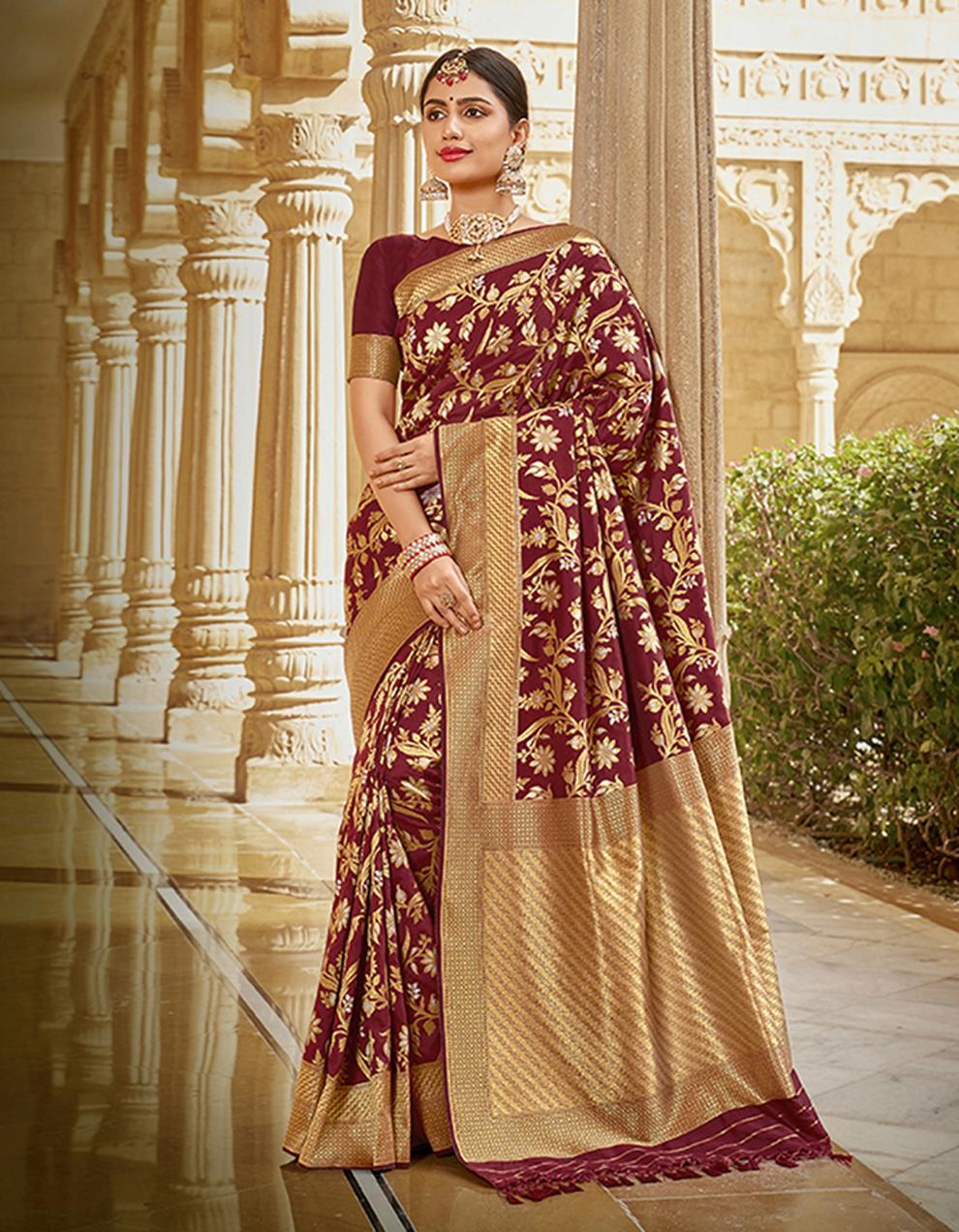 Brown Silk Saree With Blouse SD23780