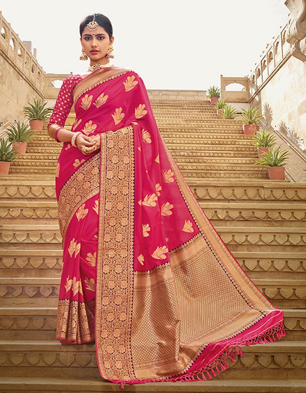 Rani Pink Silk Saree With Blouse SD23777