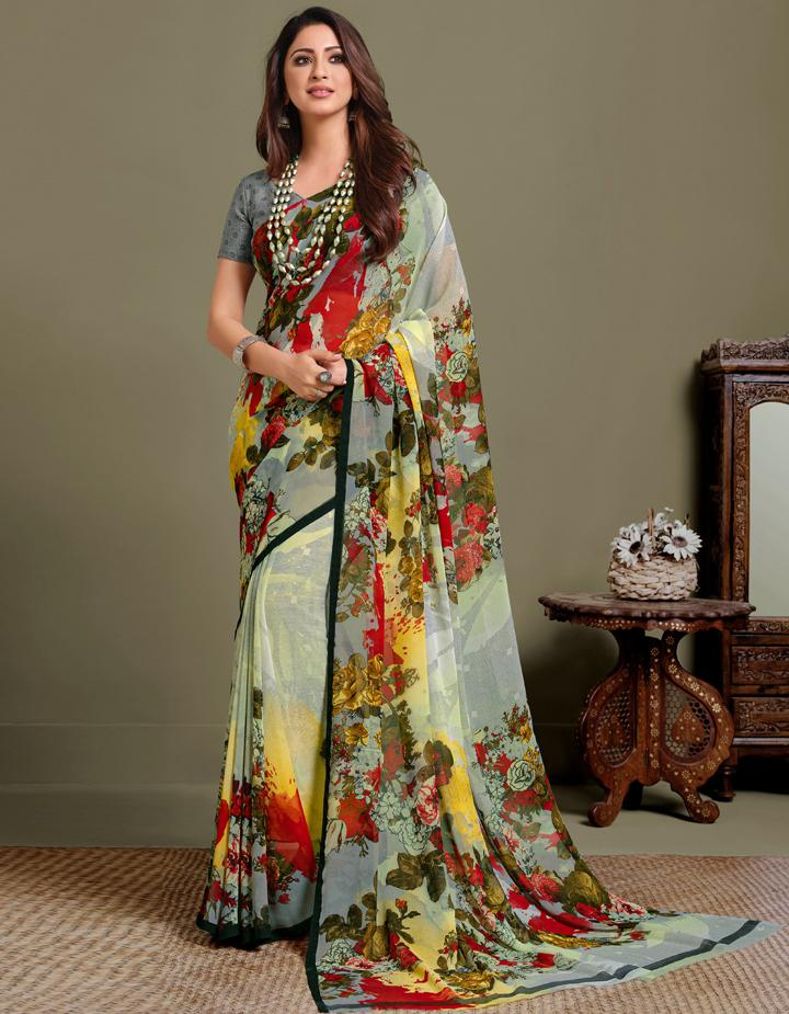 Multi Georgette Saree With Blouse IW24632