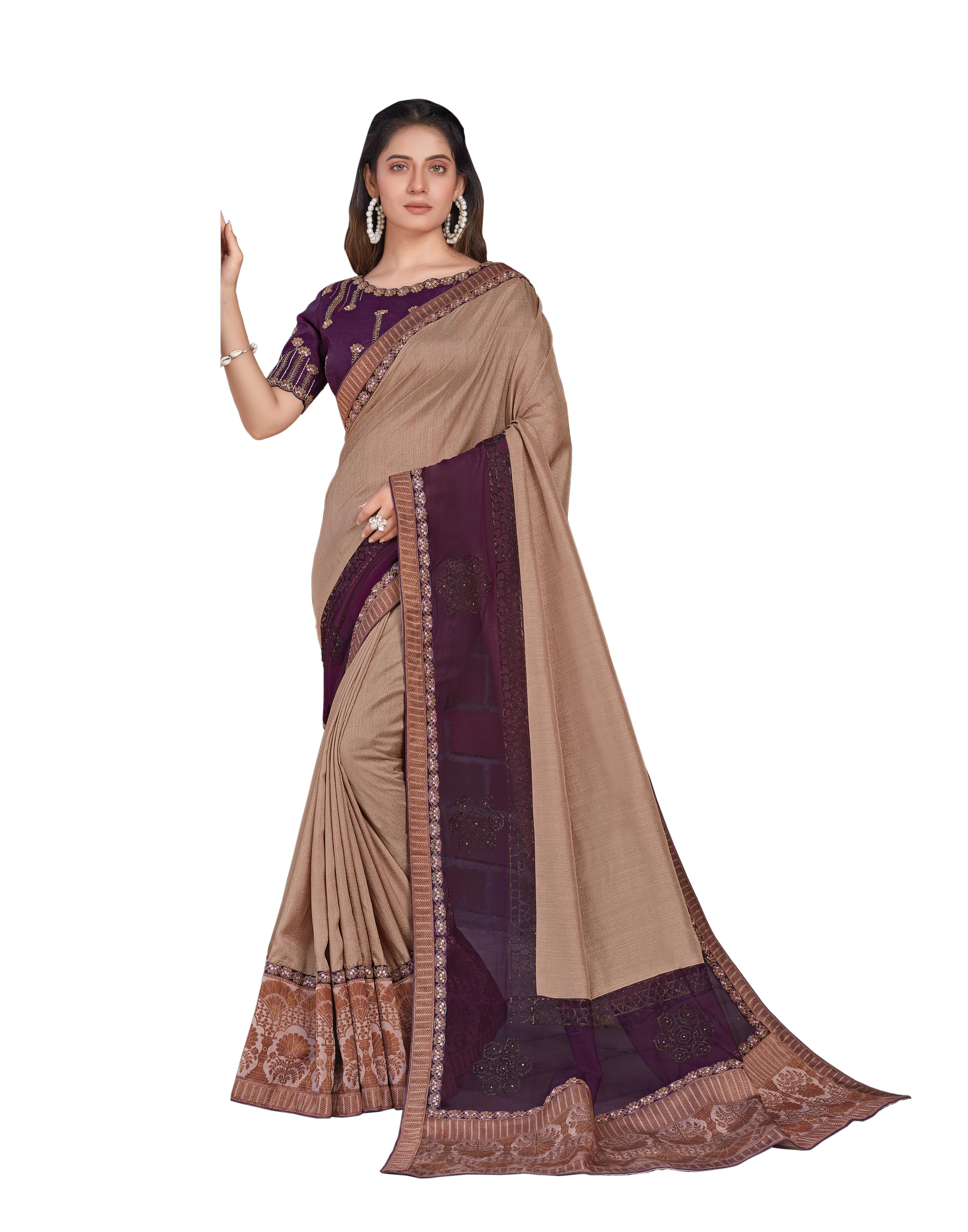 Beige And Purple Tussar Silk Saree With Blouse MH25051