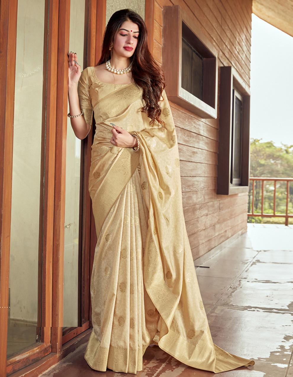 Cream Silk Saree With Blouse SD24075