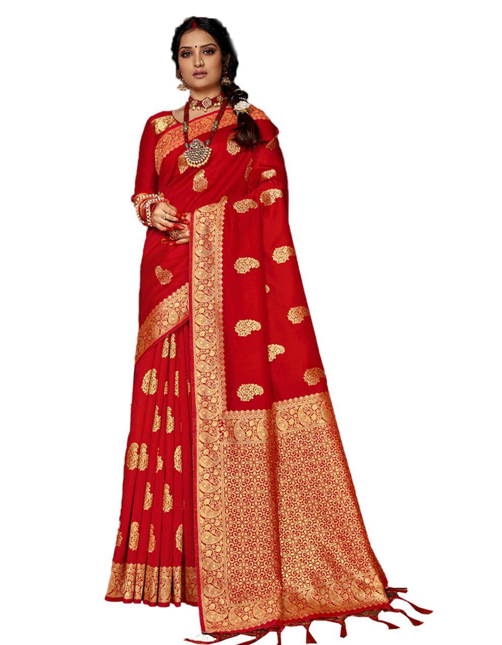 Orange Banarasi Silk Saree With Blouse SD24155