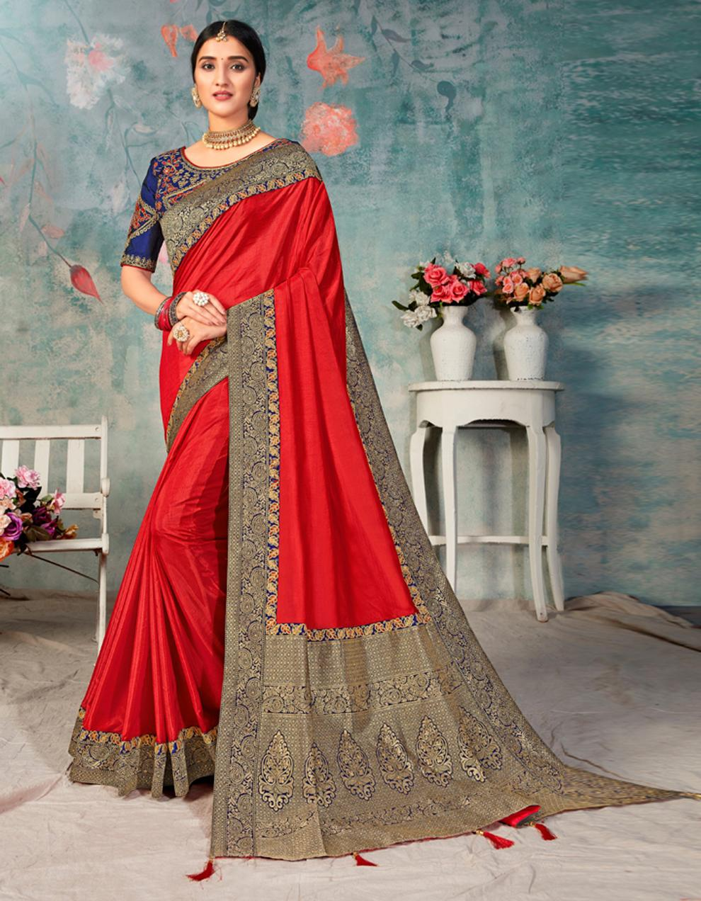 Red Poly Silk Saree With Blouse IW24465