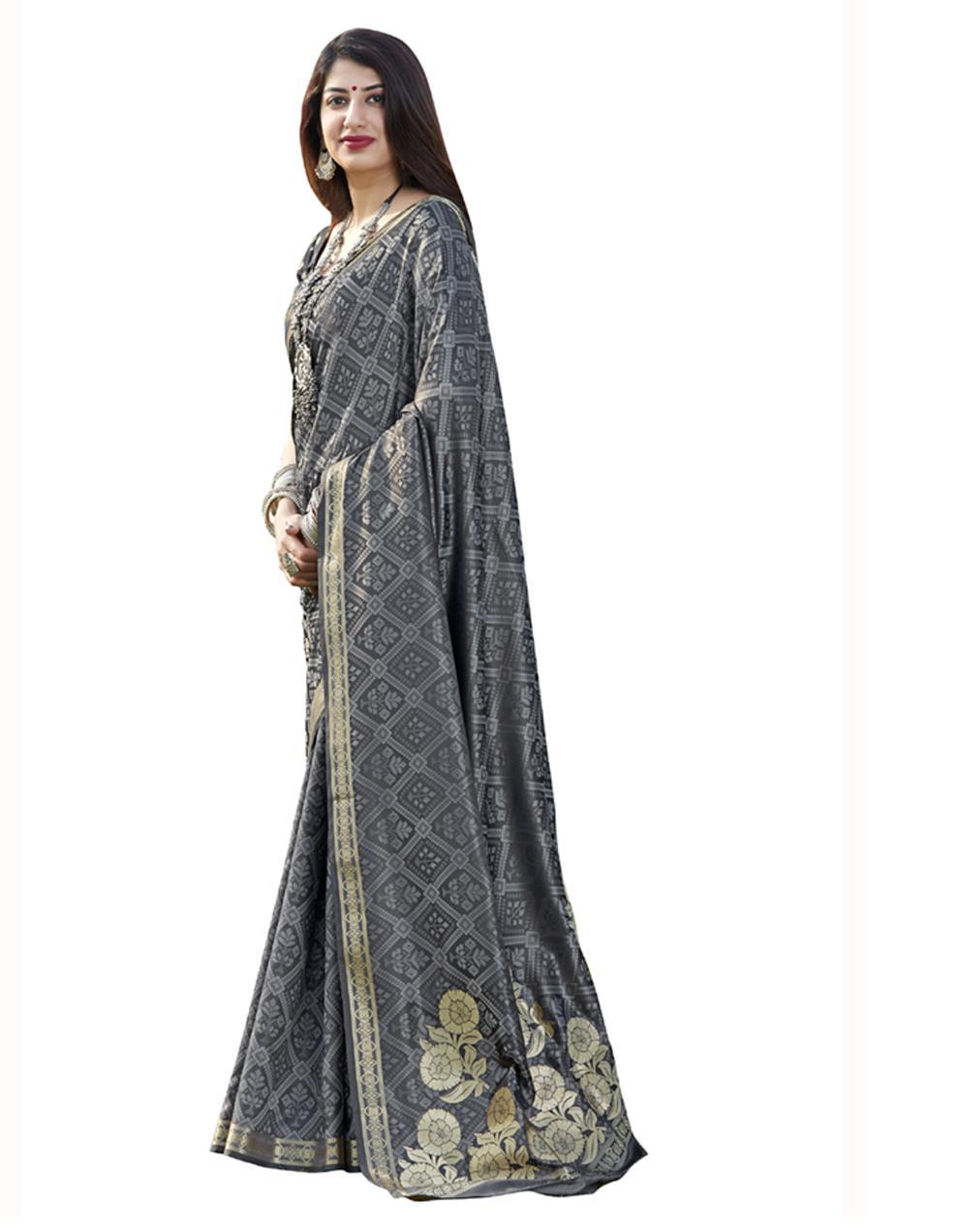 Grey Banarasi Silk Saree With Blouse SD24192