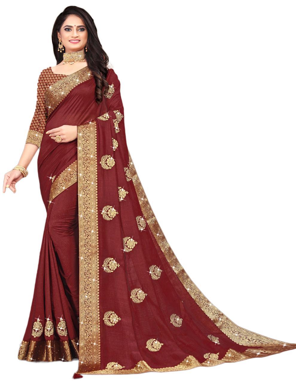 Maroon Vichitra silk Saree With Blouse IW24393